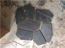 Black Slate Random Flagstones, Irregular Crazy Paving Stone, Flagstone Pavers for Walkway, Road.