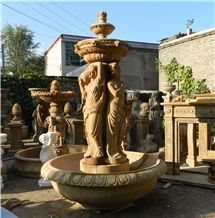 China Beige Marble Garden Fountains, China Marble Water Features Exterior Fountains, Woman, Angel Sculptured Fountains