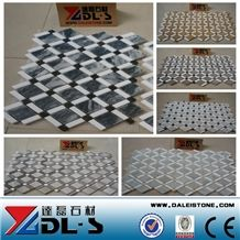 China Popular Diamond Basketweave Shaped Marble Polished Mosaic Tiles for Floor Wall Decoration, Chipped Mosaic Natural Building Stone Indoor Use, Hotel Lobby, Bathroom, Living Room, High Quality
