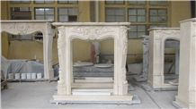 Crema Marfil Marble Fireplace, Beige Marble Fireplace Surround Decorating, Marble Fireplace Mantel