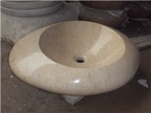 Crema Marfil Round Wash Basins, Vessel Sinks, Beige Marble Round Sinks for Bathroom