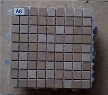 Focus Cream Marble Mosaic Tiles, Turkey Marble Square Mosaic Pattern, Polished Beige Marble Wall Mosaic Tiles