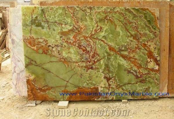 Pakistan Popular Luxury Green Onyx Polished Tiles Slabs