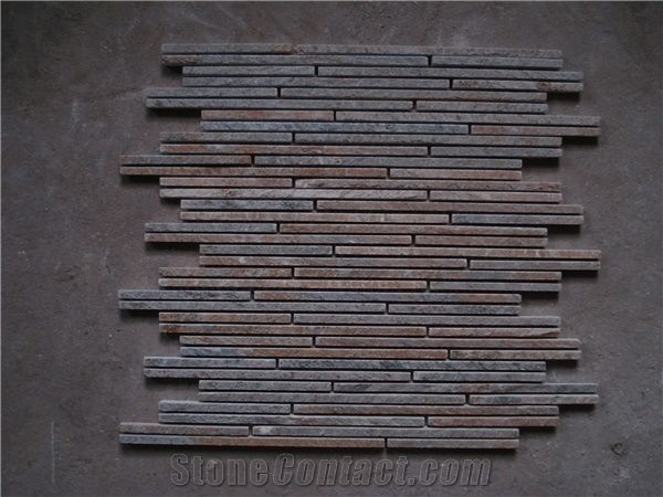 Rusty Slate Linear Mosaic Tiles, China Cheap Slate Mosaic