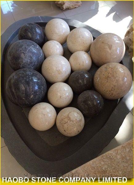 Black Marquina Polished Marble Ball Garden Decoration Haobo Stone Extraordinary Stone Ball Garden Decoration