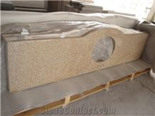 China G682 Yellow Granite Vanity Tops, New China Natural Bathroom Countertops Vanity, Beige Stone Vanity Top, Bathroom Vanity Tops, Custom Vanity Tops, Washing Basin Tops, Bathroom Countertops