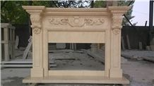 China Own Factory Caving Beige Marble Fireplace for Inner Decoration,Free Design and Carving,Wholesaler-Xiamen Songjia