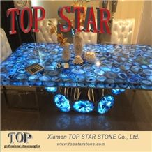Backlit Semi Precious Stone Blue Agate Stone