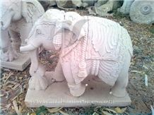 Elephant Statues 1, White Marble Statues