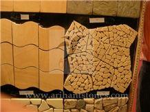 Pattern 9 Mosaics, Brown Sandstone Floor Mosaic, Pebble Mosaic India