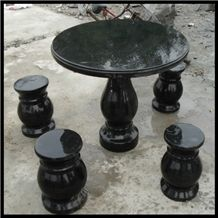 Black Granite Table and Chair