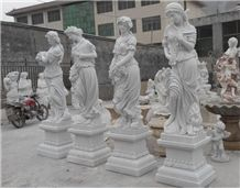 Four Seasons Woman Marble Statues, White Marble Statues