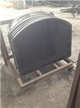 Joint and Filled Curved Fireplace Hearth Shanxi Black Granite Fireplace Hearth