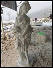 Life Size Women Statues, Stone White Marble Statues