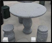 Park Bench Design, Grey Granite Bench & Table, Exterior Furniture