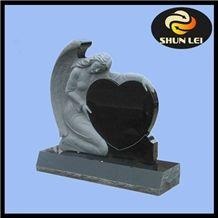 Shanxi Black Granite Angel with Heart Tombstone