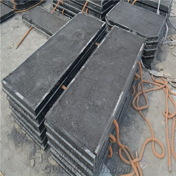 Slabbed And Filled Fireplace Hearth Slabs Shanxi Black Granite