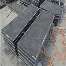 Slabbed and Filled Fireplace Hearth Slabs, Shanxi Black Granite Fireplace Hearth