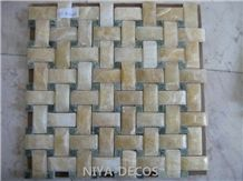 China Honey Onyx Mosaic with Verde Ming Green Mabrle Mosaic Basketweave Tiles