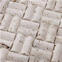 Classic Bianco White Travertine Mosaic Pattern Tiles