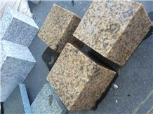 Fargo Zhangpu Rust Granite Cube Stone, Chinese Yellow Granite Cobble Stone for Garden Stepping Pavements, Rust Granite Stone for Walkway/Driveway Paving, Courtyard Road Pavers
