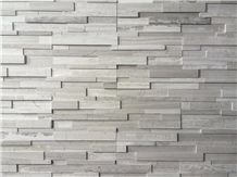 White Grey Wooden Vein Marble Wall Cladding, Cultured Stone