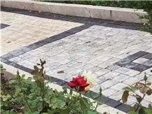 Fantastic Silver Travertine Walkway Cobblestone Pavement