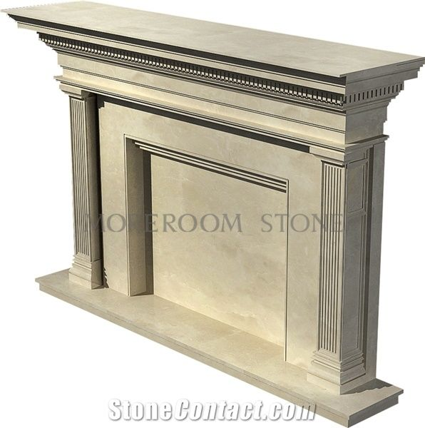 Chinese Factory Beige Marble Fireplace Design Ideas, Natural ...
