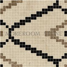 Marble Stone Supplier Spanish Marble Tiles Price Crema Marfil Polished Marble Mosaic Wall Mosaic Mosaico Stone Floor Mosaic Black and Beige Marble Mosaic Floor Tile Mosaic Pattern Marble and Tile