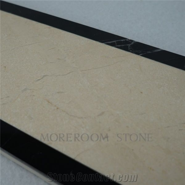 Polished marble border tiles spanish beige marble cream for Floor tiles border design
