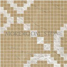 Yellow Marble Mosaic Wall Design Australian Golden Beige Marble White Marble Price Wall Mosaic Polished Marble Mosaic Tiles Home Marble Flooring Mosaic Bathroom Design Mosaic