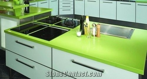 Green Quartz Stone Kitchen Countertop Engineered Top Artificial Solid Surface Silestone