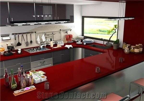 Marple Red Quartz Stone Kitchen Countertop Engineered Top Artificial Solid Surface Silestone