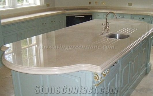 Spain Crema Marfil Marble Kitchen Countertop Beige Island Top Desk