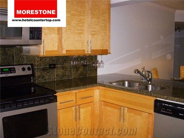 Moss Green Granite Kitchen Countertop With Tile Backsplash