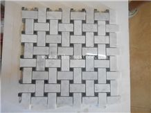 Basketweave Carrara White Marble Mosaic