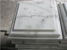 Guangxi White Marble Pillar Caps,China Carrara White Marble Wall Coping,China White Marble Pier Caps Finials Capitals