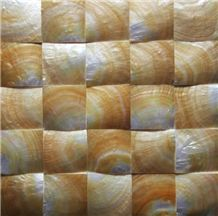 Natural Sea Shell 3d Cladding,Yellow Butterfly Sea Shell Decorative Wall Mosaic Panel,Square Shaped Sea Shell Mosaic Pattern Wall Cladding for Interior Wall Decor