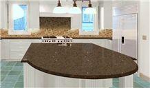 Mocca Quartz Countertops, Brown Quartz Stone Kitchen Countertops, Island Tops