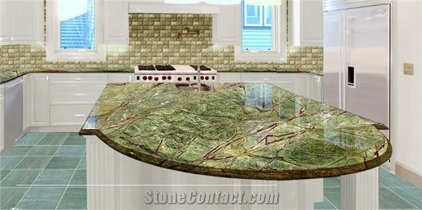 Rainforest Green Countertops, Green Granite Kitchen Countertops India