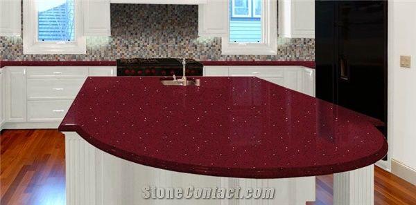 Red Quartz Stone Kitchen Countertops