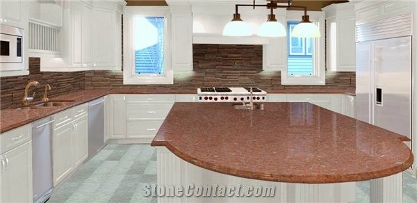 Ruby Red Granite Countertops, Red Granite Kitchen Countertops, Island Tops