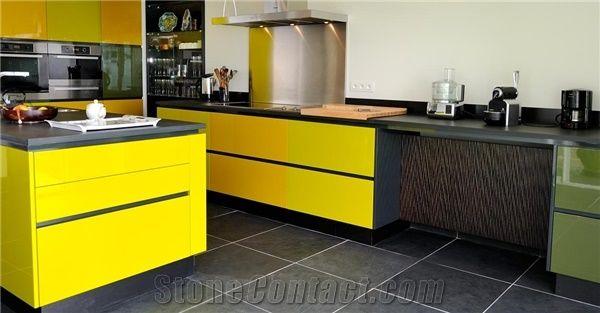 Brazilian Black Slate Kitchen Countertops and Floors, Preta ...