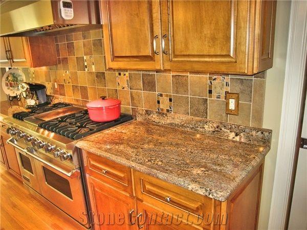 Juparana Crema Bordeaux Granite Kitchen Countertops From