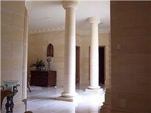 Gambier Limestone Tapered Round Column, Beige Limestone Columns