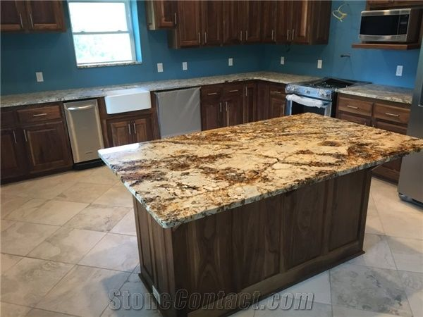 mesmerizing kitchen island granite countertop | Betularie Granite Island and White Spring Perimeter ...
