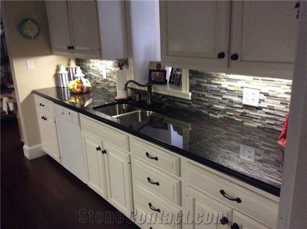 Black Granite With White Kitchen Cabinets