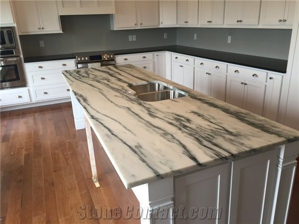 Mountain White Danby Marble Honed With Black Pearl Honed