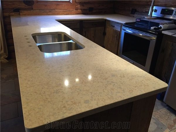 Zodiac Quartz Oatmeal Kitchen Peninsula Countertop From