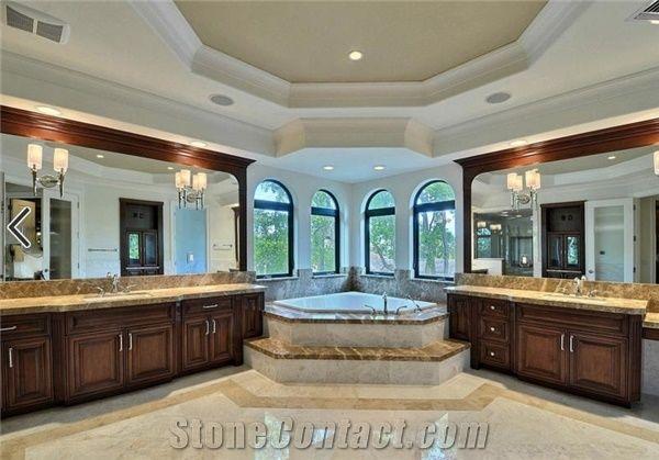 Master Bathroom Featuring a Corner Tub, Emperador Light Marble Tub ...